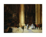 Interior of Antwerp Cathedral by Night, Mid-17th Century Giclee Print by P. the Elder and P. the Younger Neeffs