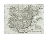 Map of Spain and Portugal, 1731 Giclee Print by Hermann Moll