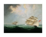 A Naval Brig Pursuing Another Brig Giclee Print by Thomas Buttersworth