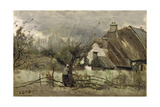 Thatched Cottage in Picardie Giclee Print by Jean Baptiste Camille Corot