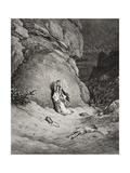 Hagar and Ishmael in the Desert, Illustration from Dore's 'The Holy Bible', Engraved by Piaud, 1866 Giclee Print by Gustave Dore