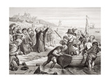Departure of the Pilgrim Fathers from Delft Haven in July 1620, from 'Illustrations of English… Giclee Print by Charles West Cope