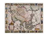 Asia and the Far East, from 'Asiae Nova Descriptio Auctore Petro Kaerio Excusum in Aedibus… Giclee Print by Pieter van den Keere