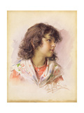 Head of a Girl, 1886 Giclee Print by Ludwig Passini