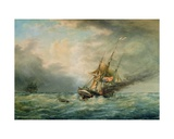 The 'Poland' Burning at Sea in May 1840, 1860 Giclee Print by Francois Geoffroy Roux