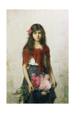 The Flower Seller Giclee Print by Alexei Alexevich Harlamoff
