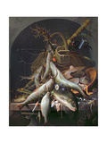A Still Life of Fish and Fishing Tackle Giclee Print by  Abraham Mignon and Jacob Gillig