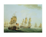 Naval Engagement Between a British East Indiaman and a French Warship, 1781 Giclee Print by Joseph Roux
