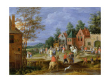 A Village Scene with Figures Dancing and Merrymaking Giclee Print by Pieter Gysels