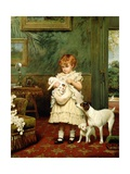 Girl with Dogs, 1893 Reproduction procédé giclée par Charles Burton Barber