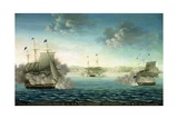Capture of the Us Frigate 'Essex' by B.M Frigate 'Phoebe' and Sloop 'Cherub' in the Bay of… Giclee Print by George Ropes