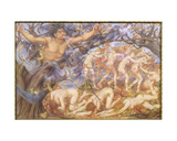 Boreas and Fallen Leaves Giclee Print by Evelyn De Morgan