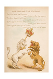 The Lion and the Unicorn, from of 'Old Mother Goose's Rhymes and Tales', Published by Frederick… Giclee Print by Constance Haslewood
