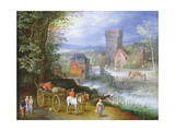 A River Landscape with a Watermill Giclee Print by Jan the Younger Brueghel