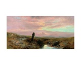 A Dartmoor Stone Cross Giclee Print by William Widgery