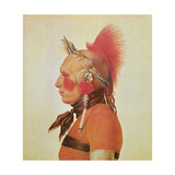 An Osage Warrior, C.1804 Giclee Print by Charles Balthazar Julien Fevret De Saint-memin