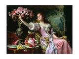 Lady with Flowers Giclee Print by Ladislaw von Czachorski