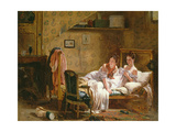 Two Women in a Bed Disturbed by a Cat Giclee Print by Jean Alphonse Roehn