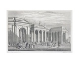 South Portico of the Bank of Ireland, Dublin, Originally the Parliament House, Engraved by B.… Giclee Print by George Petrie