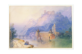 View on the Rhine, 1850 Giclee Print by Edward Richardson