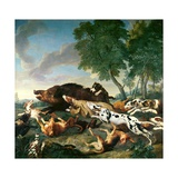 Wild Boar Hunt Giclee Print by Alexandre-Francois Desportes