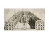 Bird's-Eye View of Guy's Hospital, Southwark, with Figures in the Courtyard, Engraved by William… Giclee Print by Robert West