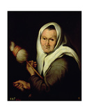 An Old Woman Spinning Giclee Print by Bartolome Esteban Murillo