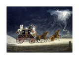 The Mail Coach in a Thunderstorm, Engraved by R.G. Reeve, 1827 Giclee Print by James Pollard