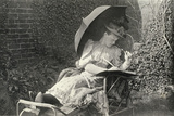 A Woman Writing on a Sun Lounger Photographic Print by Edward Linley Sambourne