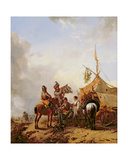 Soldiers Carousing with a Serving Woman Outside a Tent Giclee Print by Philips Wouwermans Or Wouwerman