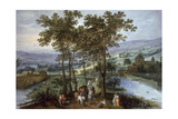 Spring, a Landscape with Elegant Company on a Tree-Lined Road Giclee Print by  Joos de Momper and Jan Brueghel