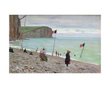 Beach Scene at Fecamp, Northern France Giclee Print by Francois Auguste Didier Clovis