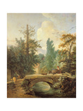 Peasant and Her Donkey Crossing a Bridge, 1775 Giclee Print by Jean-Baptiste Huet