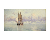 A Man-O-War Becalmed, 1885 Giclee Print by Eduardo de Martino
