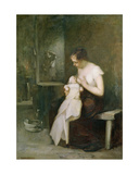 Young Mother, Study for a Painting for the Salon of 1879 Impression giclée par Eugene Carriere
