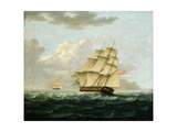 A British Frigate in Pursuit of a French Frigate Giclee Print by Thomas Buttersworth