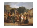 The Village of Waterloo, with Travellers Purchasing the Relics That Were Found in the Field of… Giclee Print by George Jones