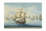 Ship Mount Vernon of Salem Outrunning a French Fleet Giclee Print by Michele Felice Corne