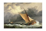Dutch Cargo Boats in Rough Sea Giclee Print by Edward William Cooke