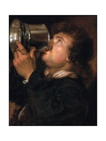 An Allegory of Taste, a Young Man Drinking from a Silver Tankard Giclee Print by Karel van III Mander