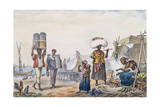 Negroes Selling Coal and Maize, from 'Voyage Pittoresque Et Historique Au Bresil', Engraved by… Giclee Print by Jean Baptiste Debret