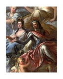 Ceiling of the Painted Hall, Detail of King William III (1650-1702) and Queen Mary II (1662-94)… Giclee Print by Sir James Thornhill