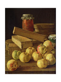Still Life with Apples, Pots of Jam and Boxes of Cake Giclee Print by Luis Egidio Melendez
