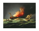 The East Indiaman Kent on Fire in the Bay of Biscay Giclee Print by Thomas Buttersworth