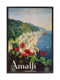Poster Advertising the Amalfi Coast Reproduction procédé giclée par Mario Borgoni