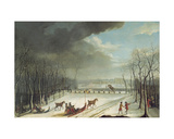 The Prince of Conde Hunting in a Sleigh in 1767 Giclee Print by Jean Francois Perdrix