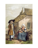 Farmers of Courpiere in the Puy De Dome Region of the Auvergne, Mid 19th Century Giclee Print by Charles Bour
