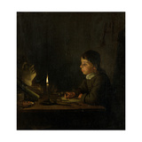 Boy Drawing by Candlelight Giclee Print by Godfried Schalken Or Schalcken