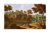 Landscape with a River Giclée-tryk af Etienne Allegrain