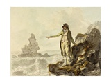The Guide to the Stackpole Scenery Pointing to Stack Rock, Pembrokeshire, 1793 Giclee Print by Julius Caesar Ibbetson